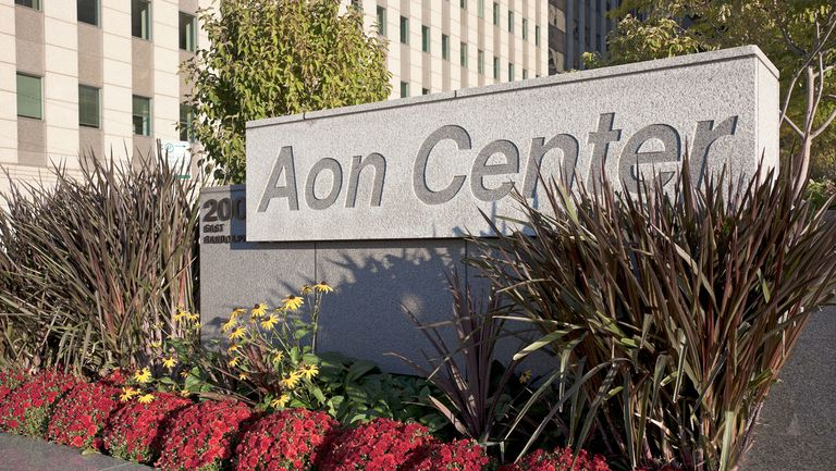Sign in front of Aon Center at 200 E. Randolph Avenue in downtown Chicago