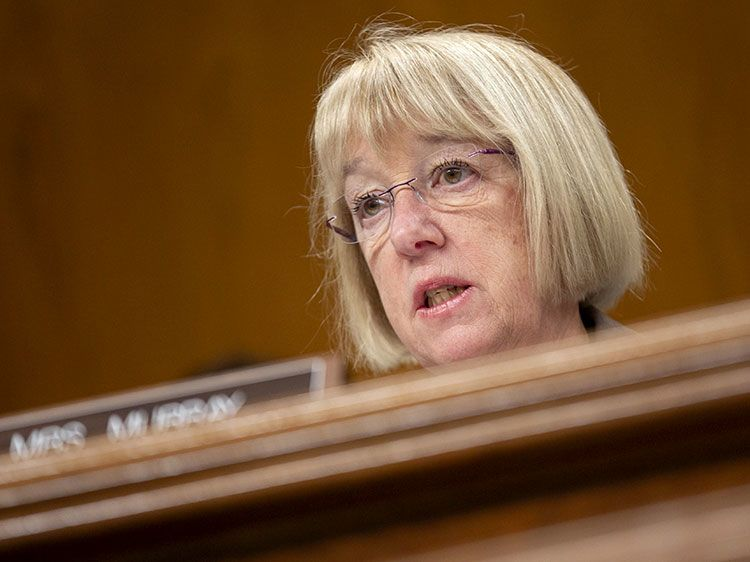 Sen. Patty Murray, D-Wash., speaks during a Senate Appropriations Subcommittee in Washington on Feb. 25, 2020.