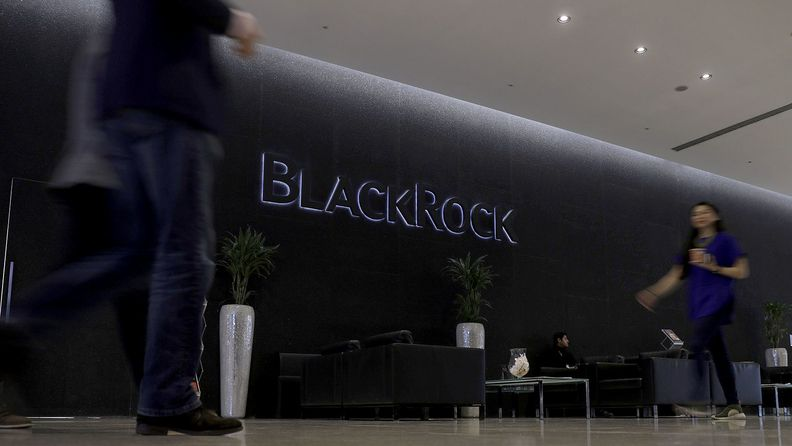 A logo sits on display in the atrium of the Blackrock Inc. offices in London