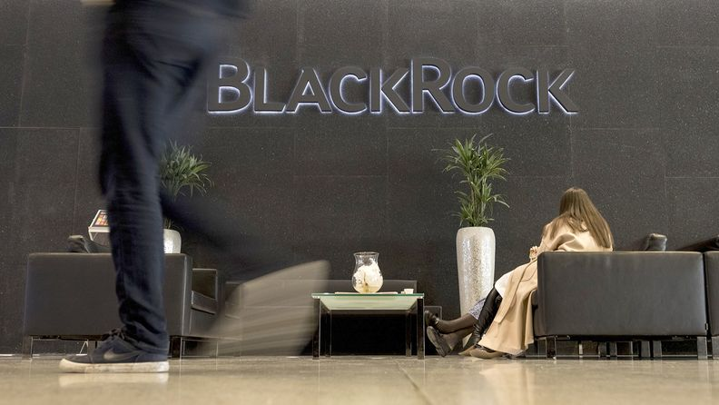 A logo sits on display at the entrance to the Blackrock Inc. offices in London