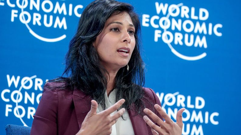 Gita Gopinath, chief economist at the International Monetary Fund, speaks during a panel session on the opening day of the World Economic Forum in Davos, Switzerland on Jan. 21, 2020.