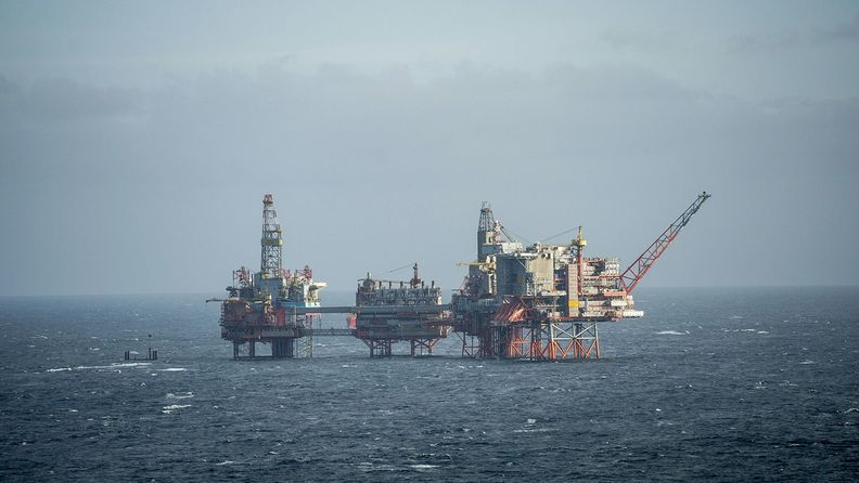 The Maersk Reacher rig, operated by Maersk Drilling Services A/S, stands in the Valhall field in the North Sea off the coast of Stavanger, Norway