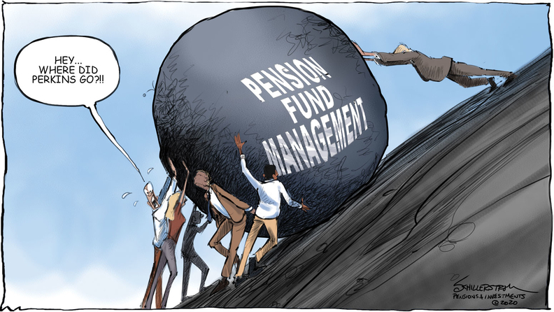 Pension management cartoon